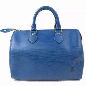 Louis Vuitton Authentic Speedy 25 Epi Leather Blue